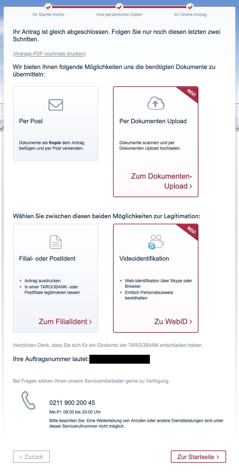 Postident/Videoidentverfahren-Online-Eröffnungs-Antrag-Targobank-Girokonto