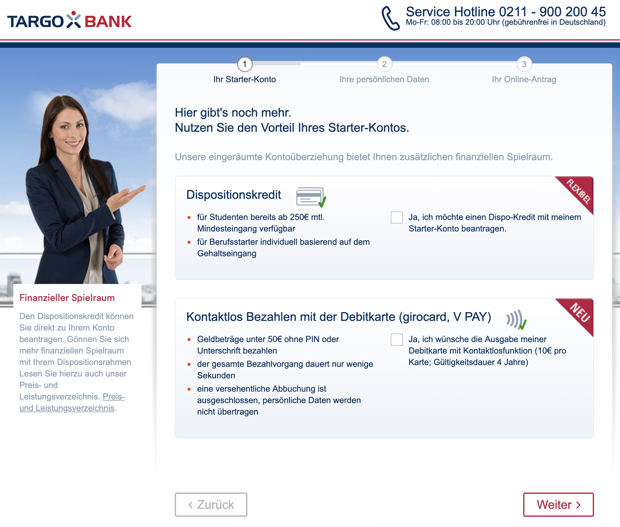Online-Antrag: Auswahl der Extras zum Targobank Girokonto.