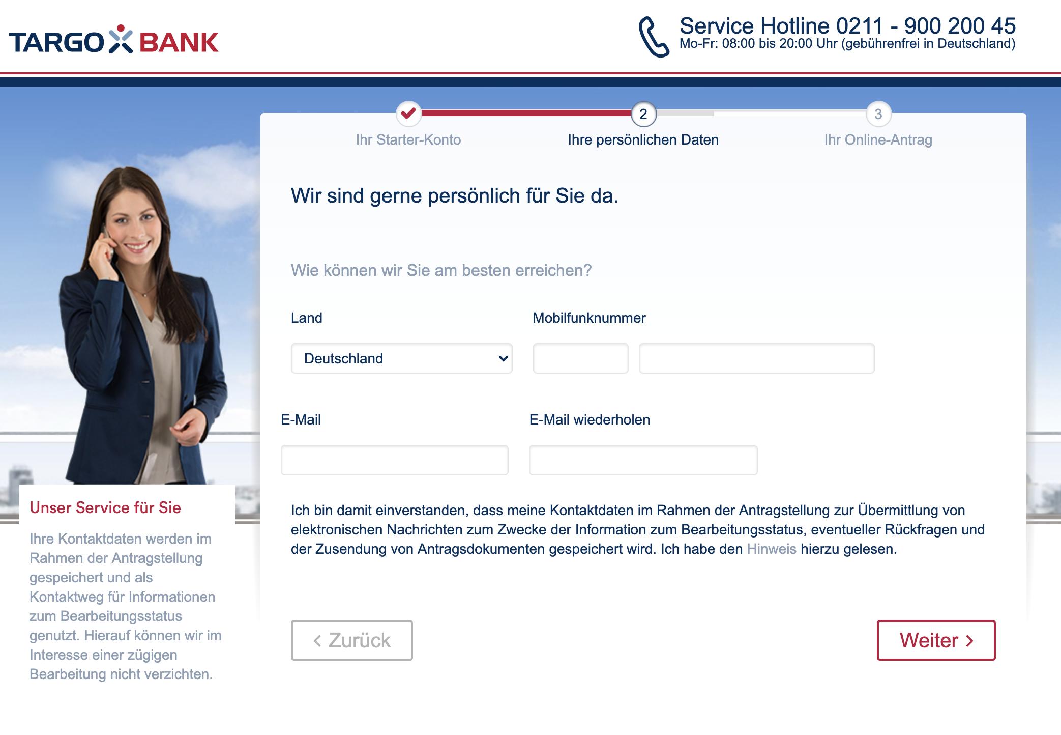 Onlineantrag: Targobank Girokonto eröffnen Eingabe der Mobilfunknummer und der Email