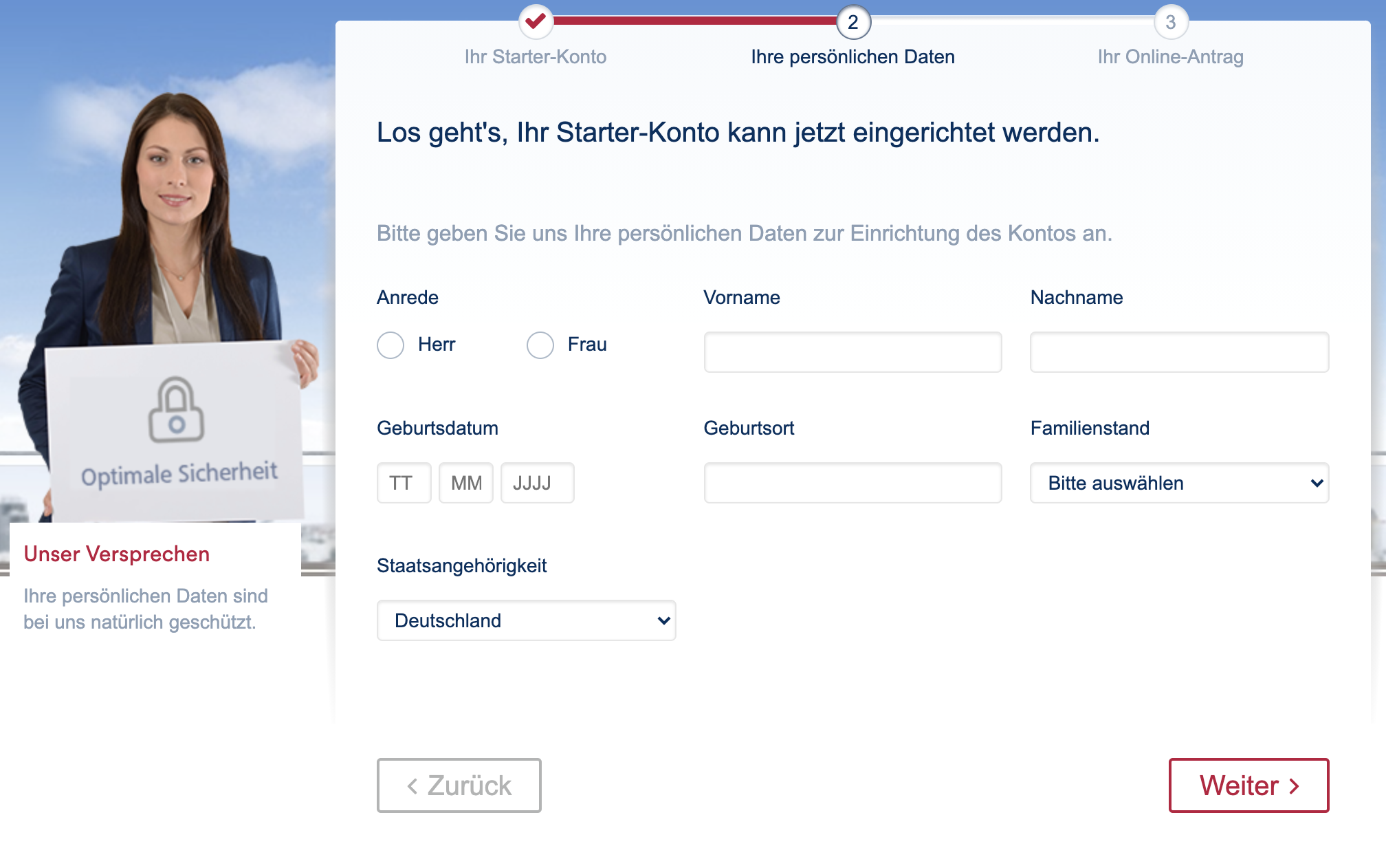 Onlineprozess: Targobank Girokonto online eröffnen Eingabe persönliche Daten