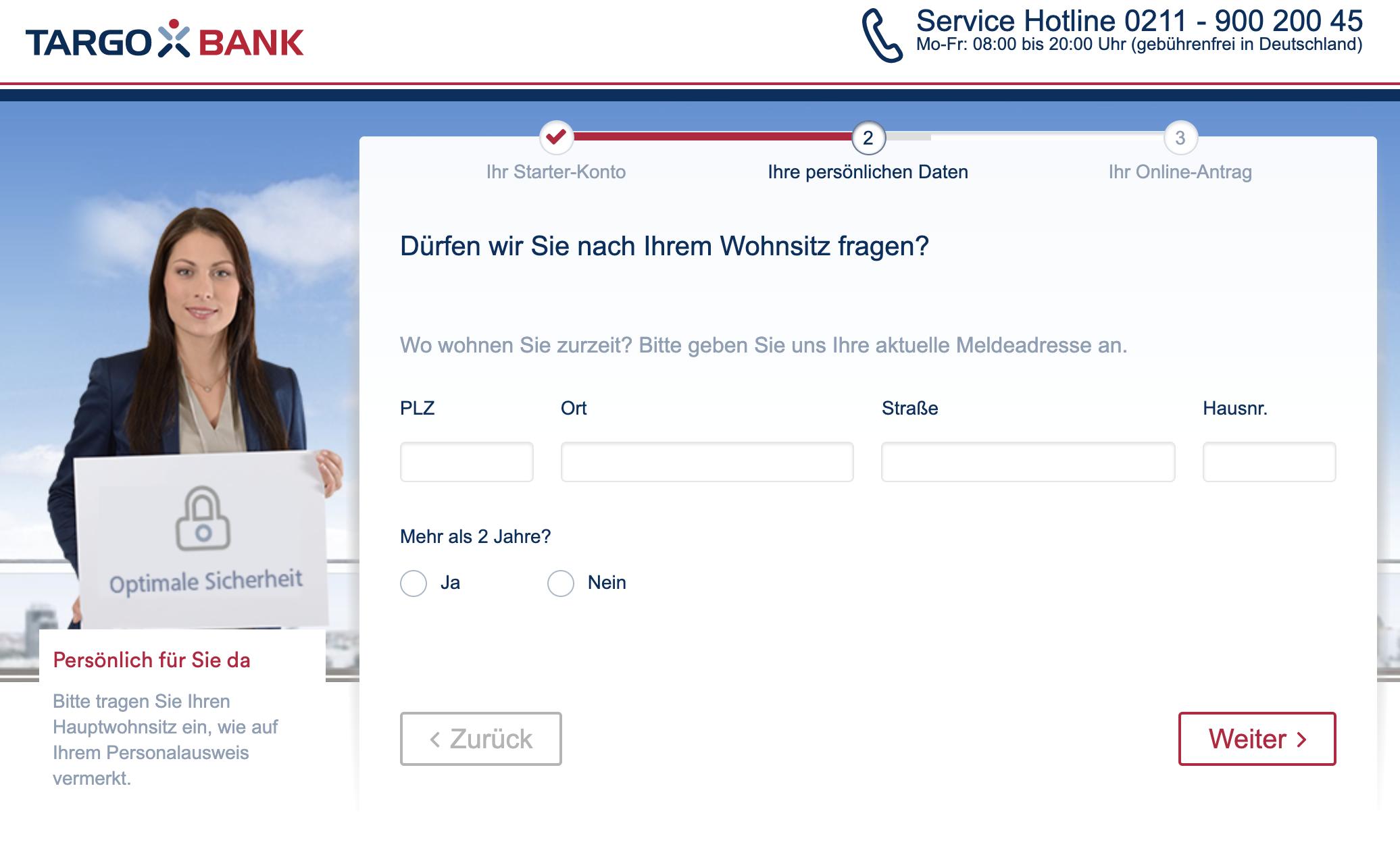 Targobank-Girokonto-Eröffnungsprozess-Wohnsitzabfrage