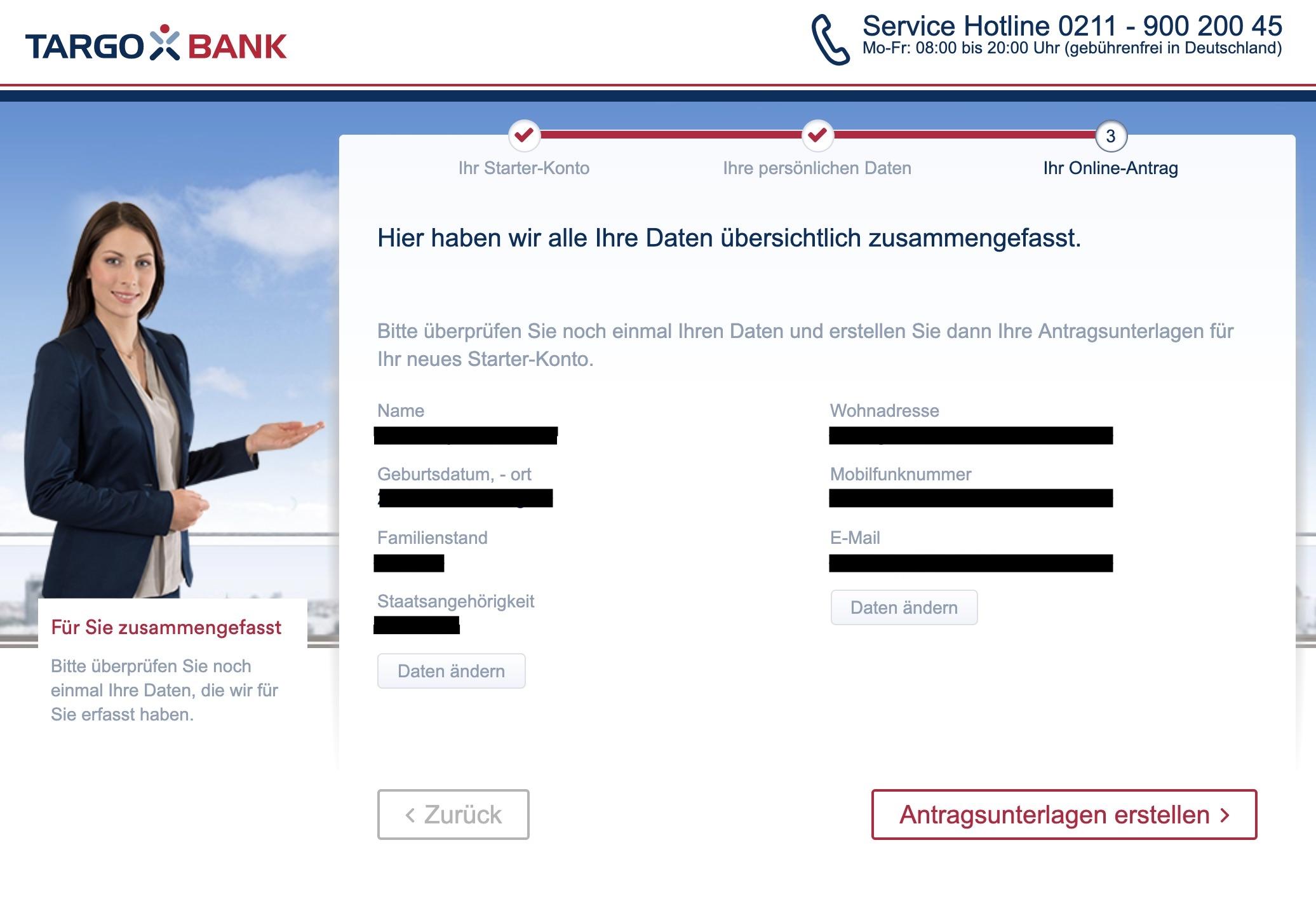 Zusammenfassung-Eröffnung-Targobank-Girokonto-online-Antrag